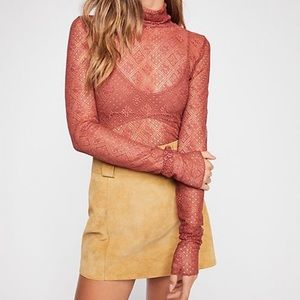 Free People Sweet Memories Orange Lace Turtleneck